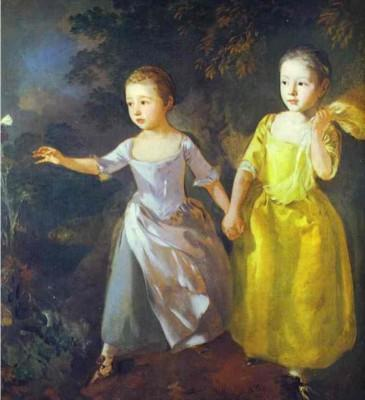 Thomas Gainsborough. The Painter's Daughters, Margaret and Mary, Chasing Butterfly.