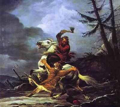 Alexander Orlowski. Cossack Fighting off a Tiger.