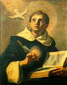 Saint Thomas Aquinas praying before starting his intellectual labor.
